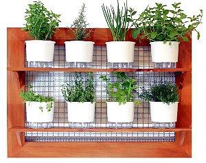 Horta Vertical de painel gigante com 8 Vasos Auto Irrigáveis lisos brancos