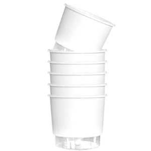 6 Vasos Auto-Irrigáveis grandes e Brancos (16cm x 14,3cm)