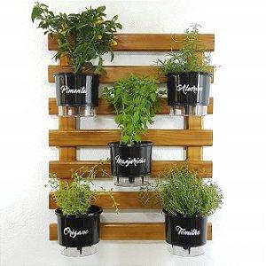 Horta Vertical Auto-Irrigável com 5 vasos e com a treliça envernizada (Escolha os vasos)