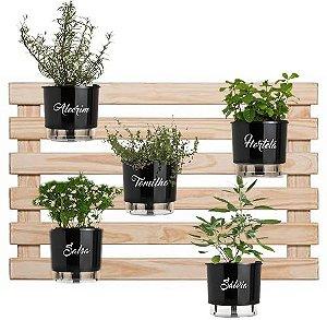 Horta Vertical deitada Auto-Irrigável com 5 vasos e com a treliça envernizada (Escolha os vasos)