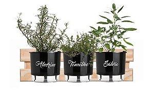 Horta Vertical Auto-Irrigável Magra com 3 vasos e com a treliça (Escolha os vasos)