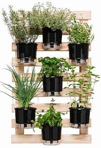 Horta Vertical Auto-Irrigável - Completa com 7 vasos Lisos + 7 Suportes