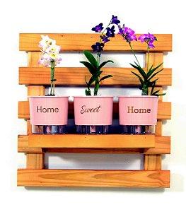Horta Vertical Auto-Irrigável - treliça cor mogno (60x60) + 3 Vasos Linha Wishes Rosa - Home Sweet Home