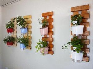 Horta Vertical Auto-Irrigável Magra com 2 vasos e com a treliça (Escolha os vasos)