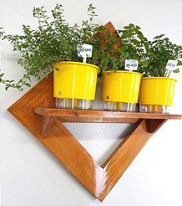 Horta Vertical Auto-Irrigável Painel com 3 vasos e prateleira (Escolha os vasos)