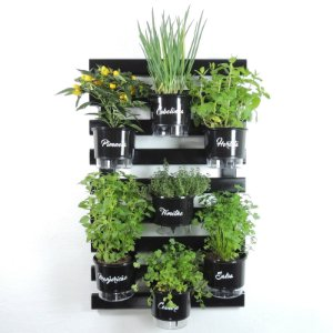 Horta Vertical Auto-Irrigável -Treliça PRETA 100x60cm com 7 Vasos Raiz Grandes N3 Gourmet - Preto