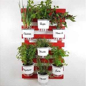 Horta Vertical Auto-Irrigável -Treliça Vermelha 100x60cm com 7 Vasos Raiz Grandes N3 Gourmet - Branco