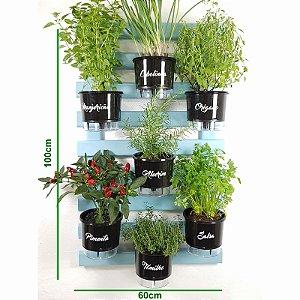 Horta Vertical Auto-Irrigável Gourmet - Treliça Azul Claro 100x60cm com 7 Vasos Grandes Pretos