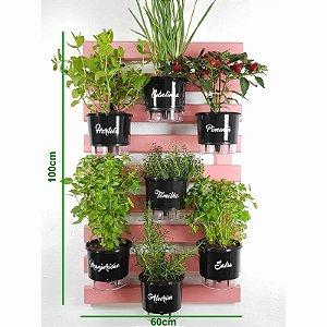 Horta Vertical Auto-Irrigável Gourmet - Treliça Rosa 100x60cm com 7 Vasos Grandes Pretos