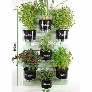 Horta Vertical Auto-Irrigável Gourmet - Treliça Verde Água 100x60cm com 7 Vasos Grandes Pretos