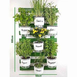Horta Vertical Auto-Irrigável Gourmet - Treliça Verde 100x60cm com 7 Vasos Grandes Brancos
