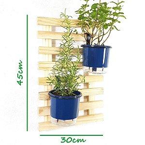 Horta Vertical Natural 45x30cm Minizinha com 2 suportes e 2 Vasos Auto Irrigáveis Pequenos