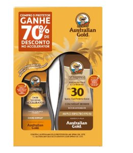 Kit Spray Gel Accelerator + Spray Gel Protetor Solar 30 FPS Australian Gold