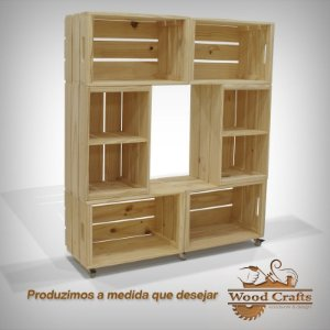 Rack com 6 Caixotes e Rodízios de Gel - Wood Crafts