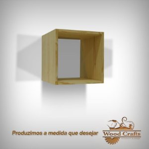 Nicho Decorativo de Pinos Cru - Wood Crafts - 30x30x28cm