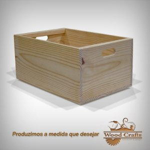 Caixa de Madeira Lisa - Wood Crafts - 58x36x36cm
