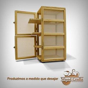 Caixa para Curar 04 Queijos com Prateleira Deslizante - Wood Crafts - 25x25x50cms