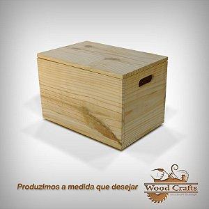 Caixote de Madeira Lisa com Tampa - Wood Crafts - 50x30x30cm