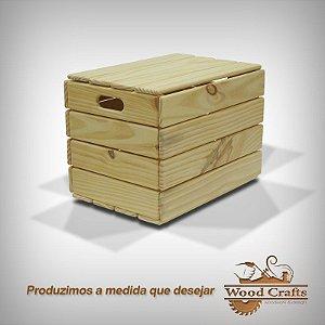 Caixote de Madeira com Tampa - WoodCrafts - 55 x 32 x 40 cm
