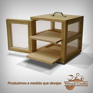 Caixa para Curar 02 Queijos com Prateleira Deslizante - Wood Crafts - 25x25x25 cm