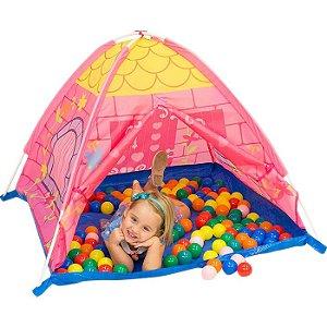 Barraca Cabana Toca Infantil Castelinho Pink Com 50 Bolinhas
