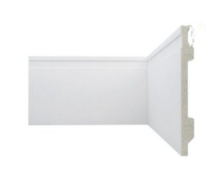 Rodapé Poliestireno Branco 15 cm Frisado - valor br. 2,20ml