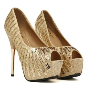 Sapato Salto Alto Feminino Lantejoula