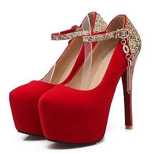 Sapato Salto Alto Cintilante Roma