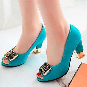 Sapato Salto Baixo Quadrado
