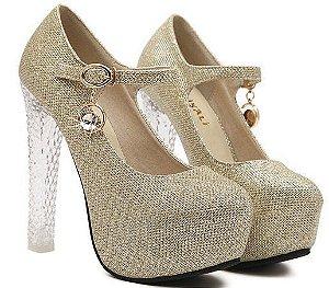 Sapato Salto Alto Quadrado Prata e Dourado