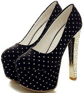 Sapato Salto Alto Quadrado com Bolinhas