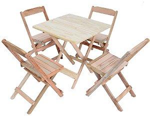 Conjunto 4 Cadeiras e 1 Mesa de Madeira Dobrável 60 x 60 - Sem Pintura