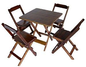 Conjunto 4 Cadeiras e 1 Mesa de Madeira Dobrável 60 x 60 - com pintura Café