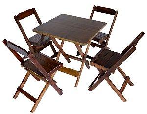 Conjunto 4 Cadeiras e 1 Mesa de Madeira Dobrável 70 x 70 - Com Pintura Café