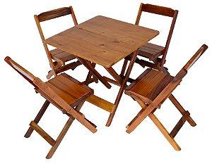 Conjunto 4 Cadeiras e 1 Mesa de Madeira Dobrável 60 x 60 - Com Pintura Mel