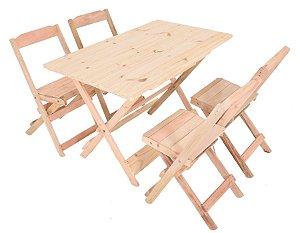 Conjunto 4 Cadeiras e 1 Mesa de Madeira Dobrável 120 x 70 - Sem Pintura