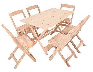 Conjunto 6 Cadeiras e 1 Mesa de Madeira Dobrável 120 x 70 - Sem Pintura