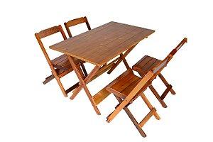 Conjunto 4 cadeiras e 1 mesa dobrável  120 x 70 - com pintura na cor mel