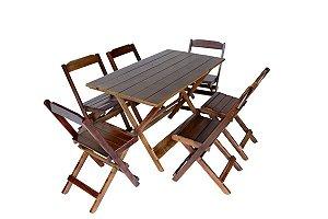 Conjunto 6 Cadeiras e 1 Mesa Dobrável 120 x 70 - Com Pintura Café