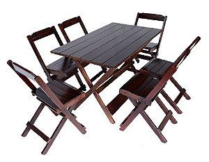 Conjunto 6 Cadeiras e 1 Mesa Dobrável 120 x 70 - Com Pintura Imbuia