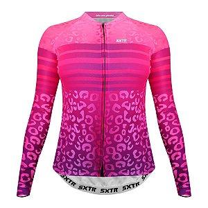 Camisa de ciclismo feminina manga longa SportXtreme slim Animali