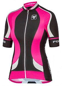 Camisa de ciclismo feminina Princess Preto/Rosa - Free Force