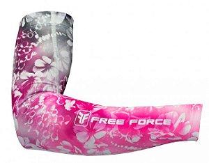 Manguito de ciclismo Feminino de Verão Flowers Preto/Pink Free Force
