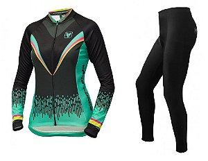 Conjunto de ciclismo feminino Victory Preto - Free Force