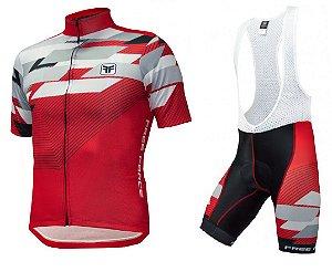 Conjunto de ciclismo (Camisa + Bretelle) Advance Vermelho - Free Force