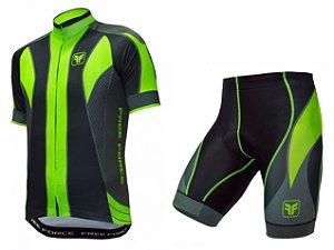Conjunto de ciclismo Blaster verde flúor - Free Force