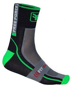 Meia de ciclismo cano médio Rubber verde flúor - Free Force