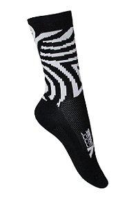 Meia de ciclismo cano médio zebra preto/branco - ERT Cycle Sport