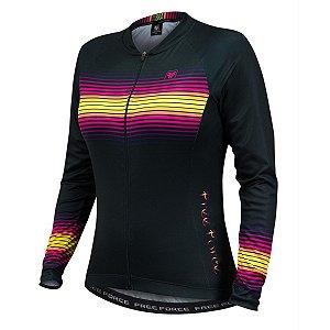 Camisa de ciclismo feminina manga longa Free Force Great