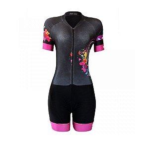 Macaquinho ciclismo feminino Be Fast Caveira Mexicana forro em gel